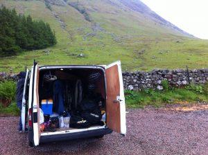 transit van with mountain bike kit in, scotland