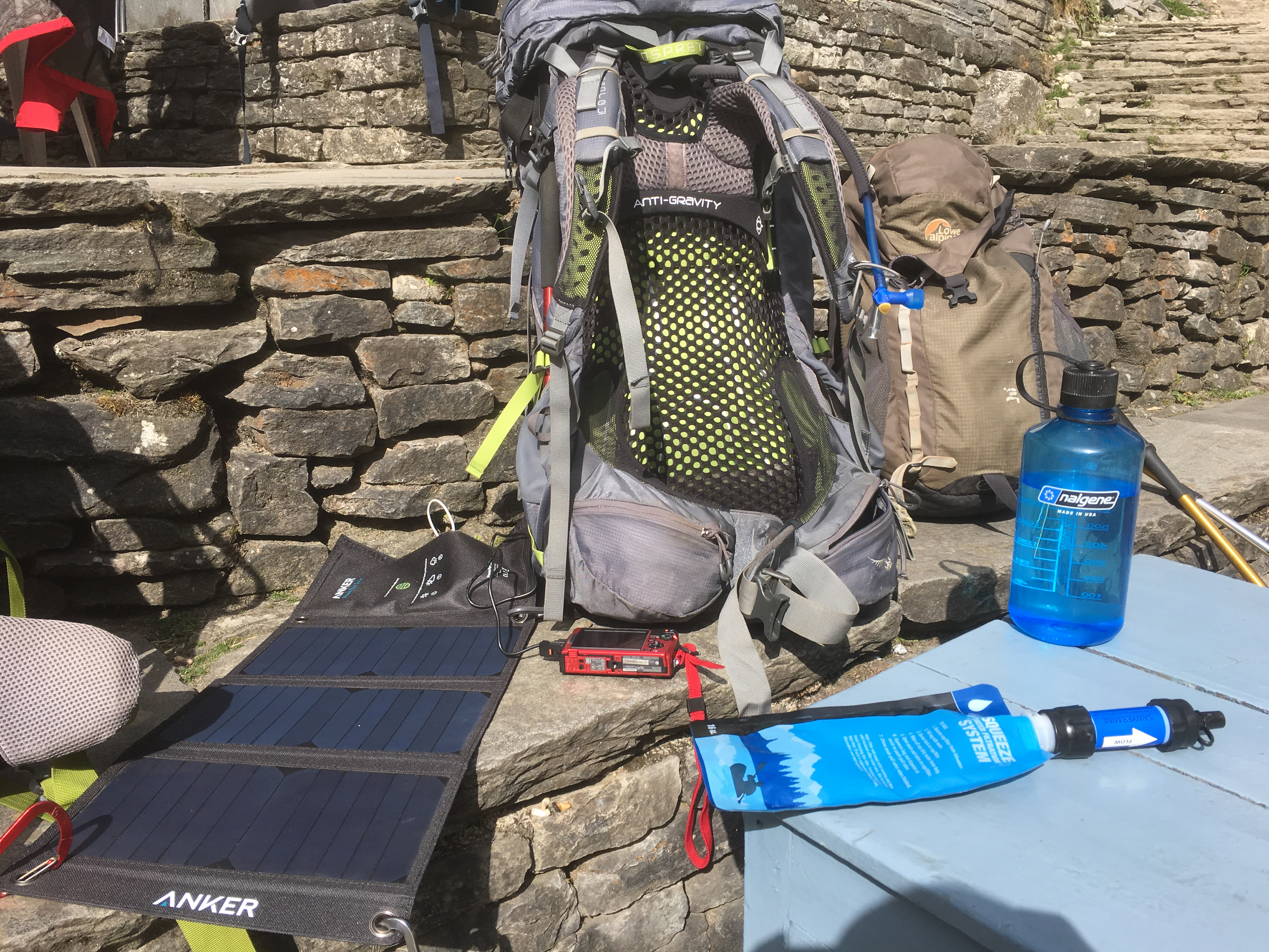 solar charger, water purifier, backpack